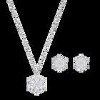 Magic Snowflake Set, White, Rhodium plated