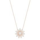 Sunshine Necklace Long, White, Rose gold plating