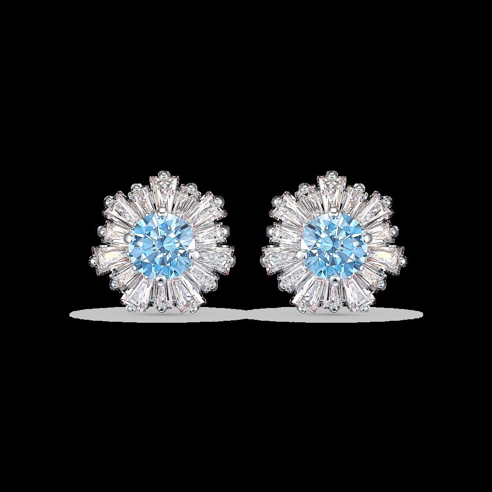 Sunshine Pierced Earrings, Blue, Rhodium plated
