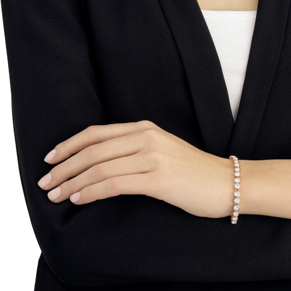 Tennis Bracelet, White, Rose Gold Plated
