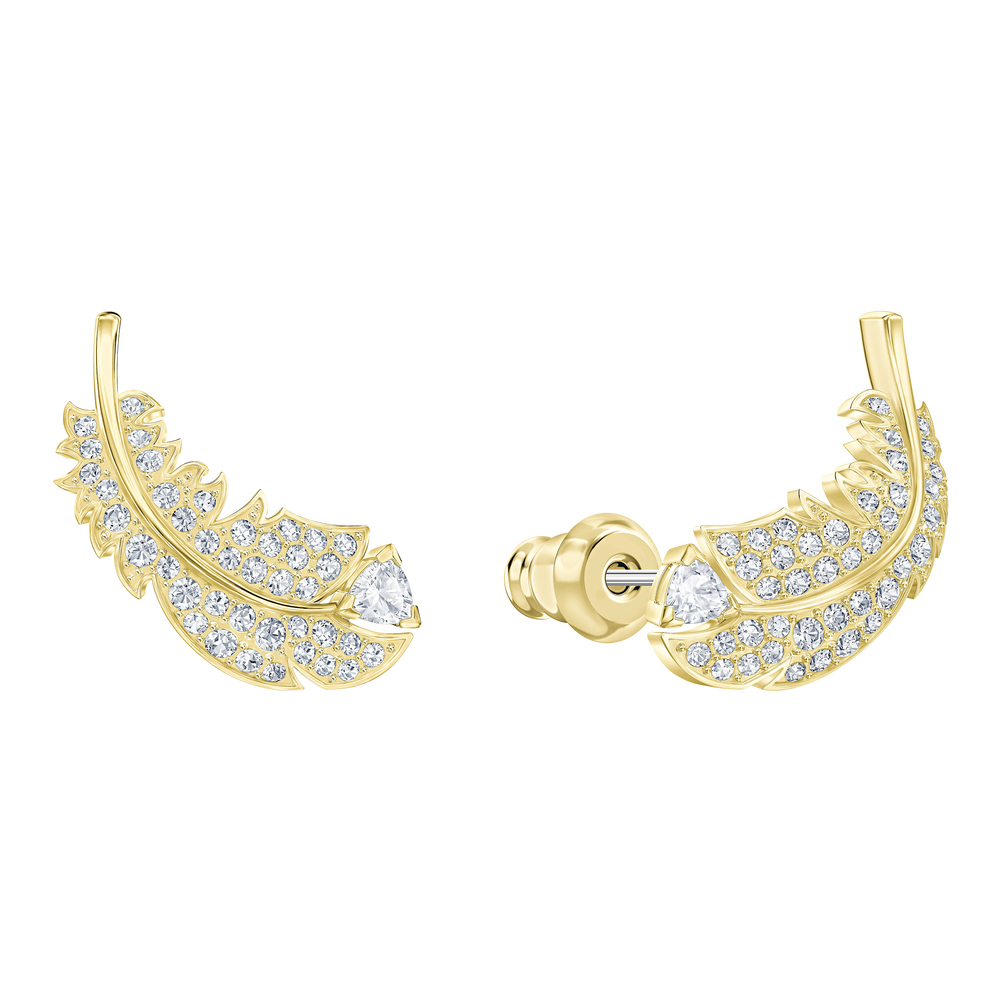 Nice Stud Pierced Earrings, White, Gold-tone plated