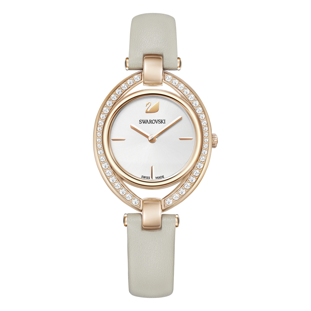 Stella Watch, Leather strap, Grey, Rose gold tone PVD