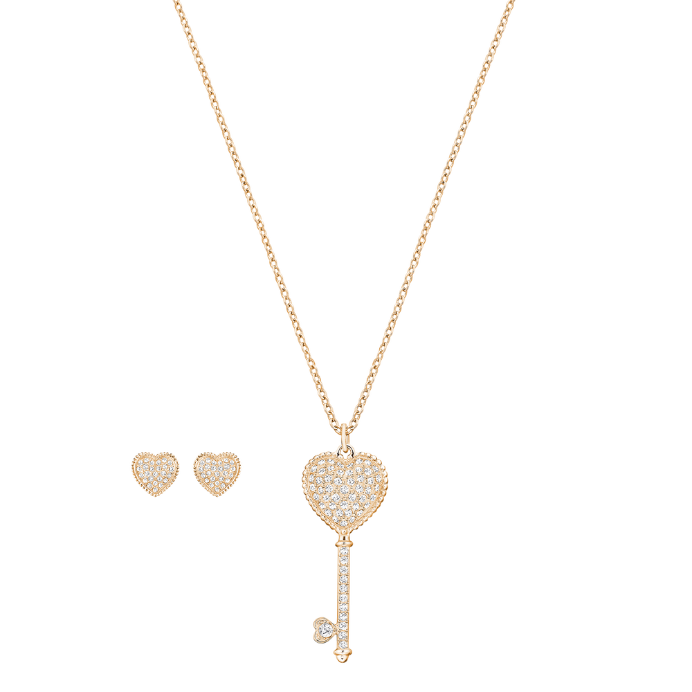 Engaged Set, Small, White, Rose gold tone plated