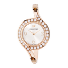 Lovely Crystals Bangle Watch, Metal bracelet, White, Rose gold tone