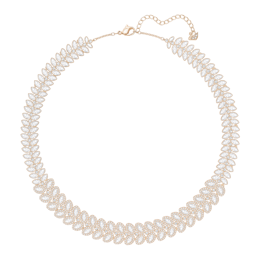 Baron All-Around Necklace, White, Rose Gold Plated