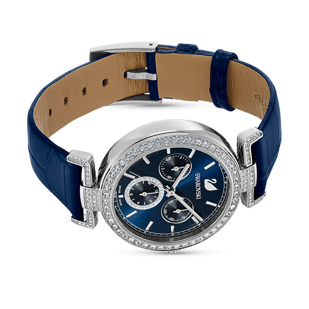 Era Journey Watch, Leather strap, Blue, Silver tone