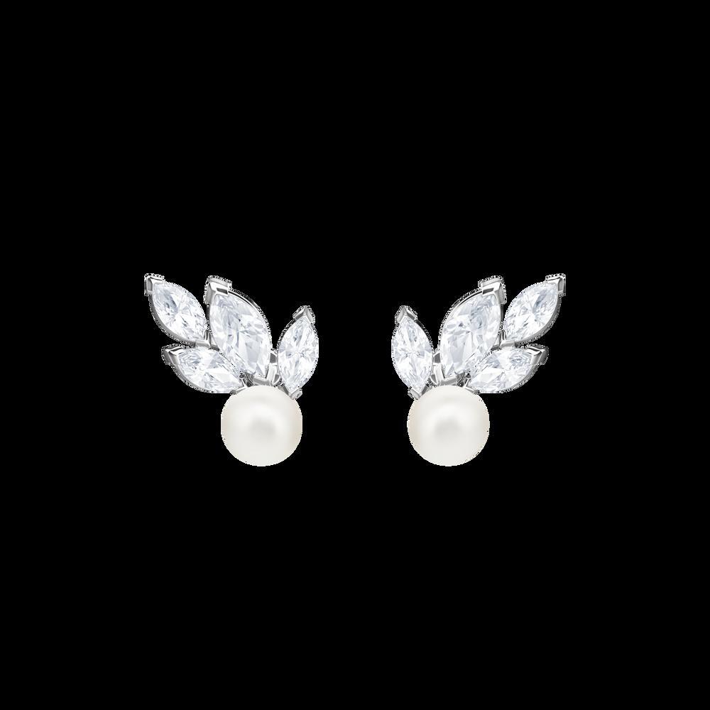 Louison Pearl Pierced Earrings, White, Rhodium Plating