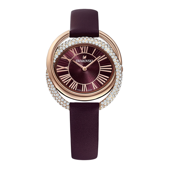 Duo Watch, Leather Strap, Dark red, Rose-gold tone PVD