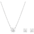 Attract Square Set, White, Rhodium Plating