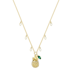 Lime Pineapple Necklace, Multi-colored, gold tone plated
