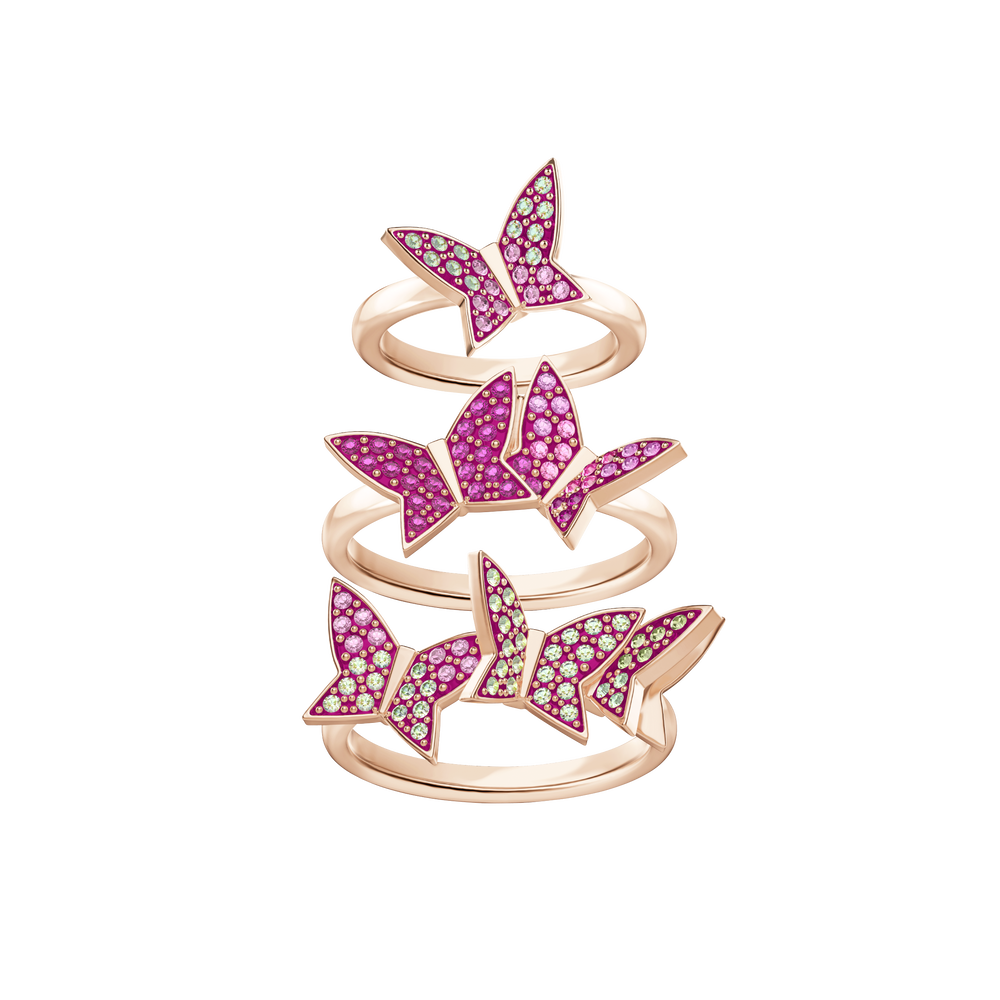 Lilia Ring Set, Multi-Colored, Rose Gold Plating