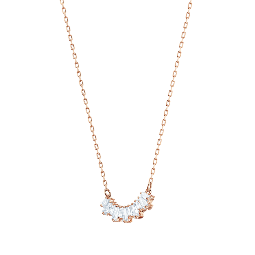 Sunshine Necklace Small, White, Rose gold plating