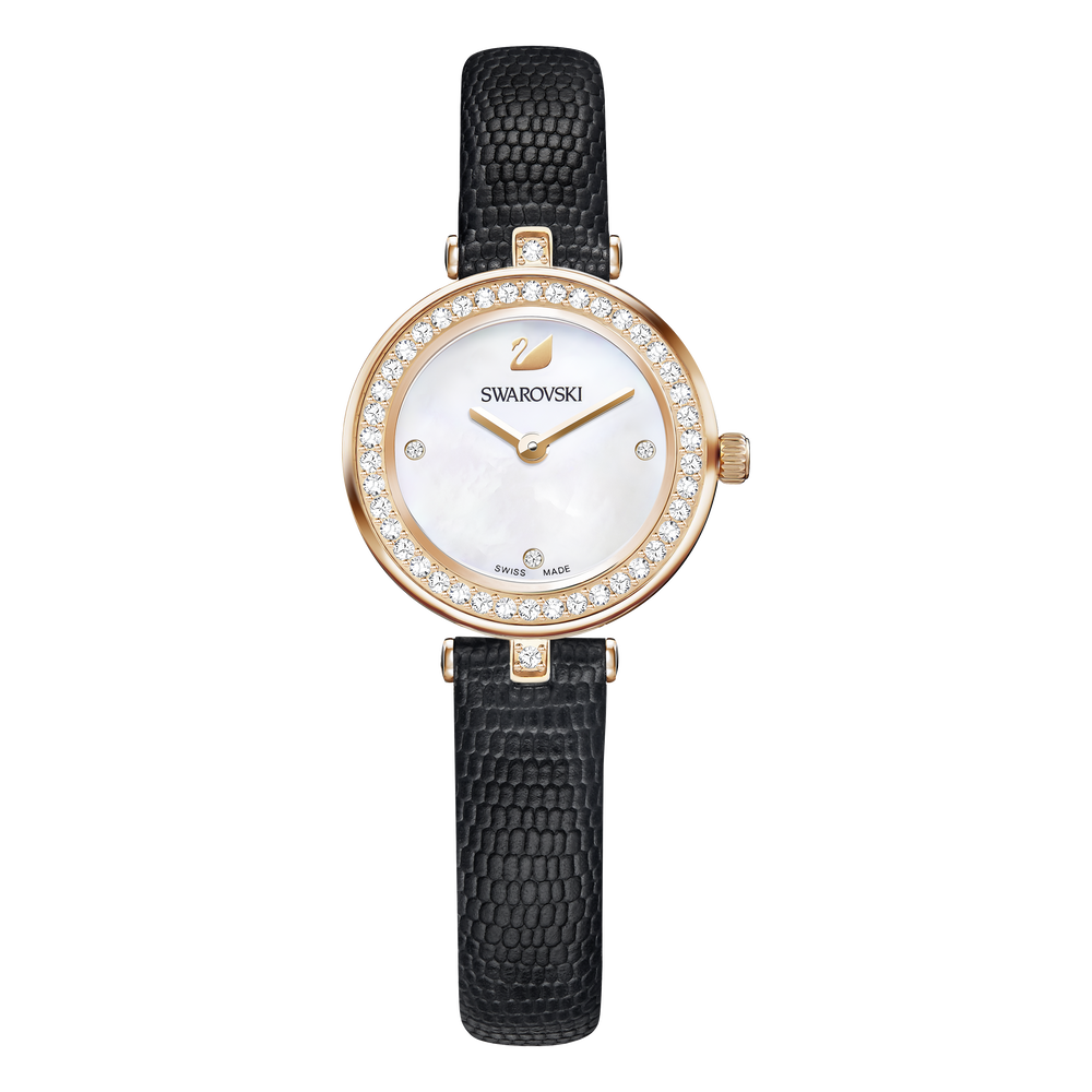 Aila Dressy Mini Watch, Leather strap, Black, Rose-gold tone PVD