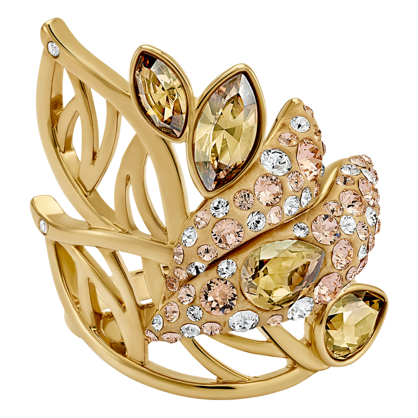 Graceful Bloom Cocktail Ring, Brown, Gold-tone plated
