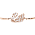 Swan Bangle, White, Rose Gold Plated