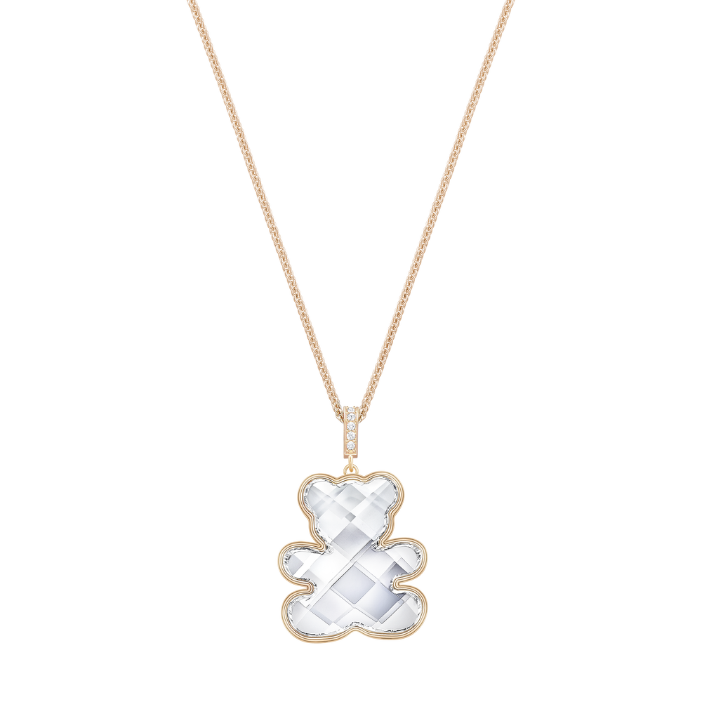 Teddy Pendant, White, Rose-gold tone plated