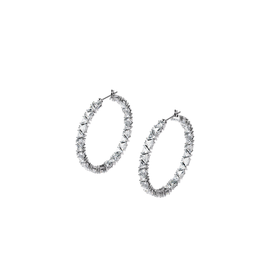 Millenia hoop earrings, Triangle Swarovski zirconia, White, Rhodium plated