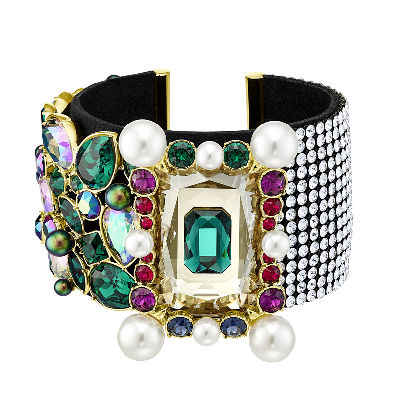 Vintage Opulescence Cuff, Multi-colored, Gold-tone plated