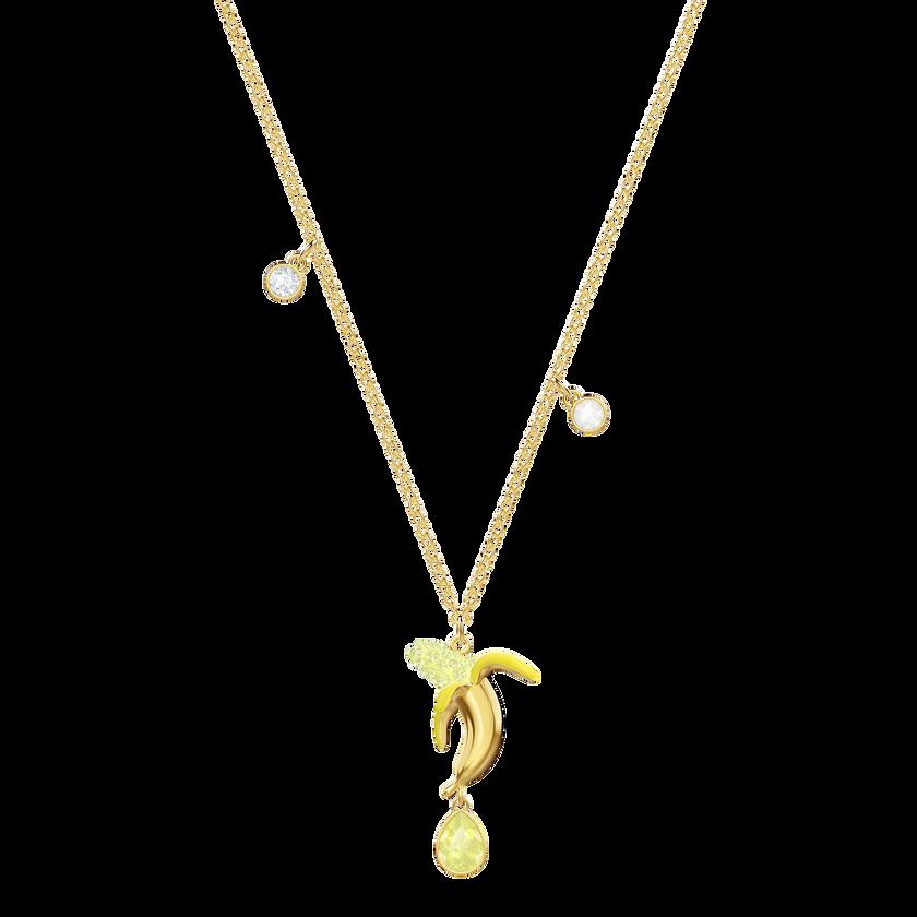 No Regrets Banana Pendant, Multi-colored, Gold plating