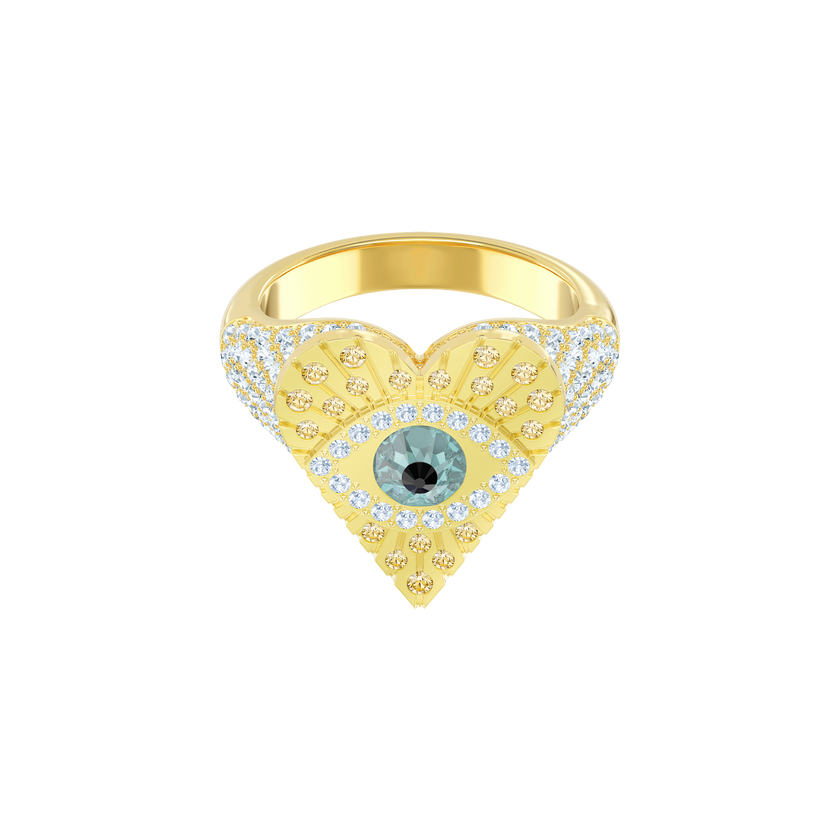 Lucky Goddess Heart Motif Ring, Multi-colored, Gold plating