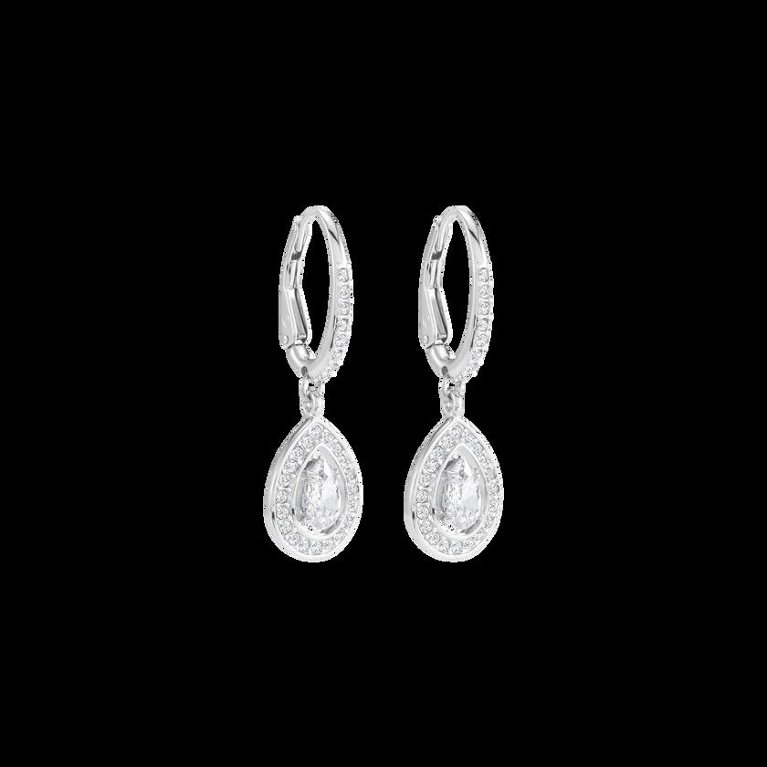 Attract Light Pear Pierced Earrings, White, Rhodium Plating