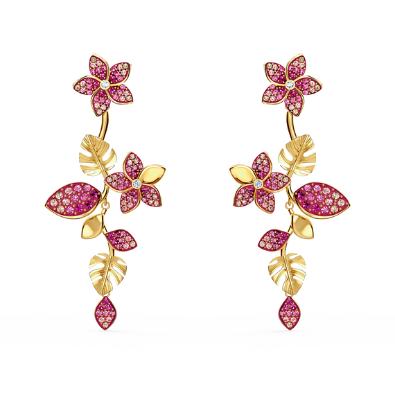 Tropical Flower Pierced Earrings, Pink, Gold-tone plated