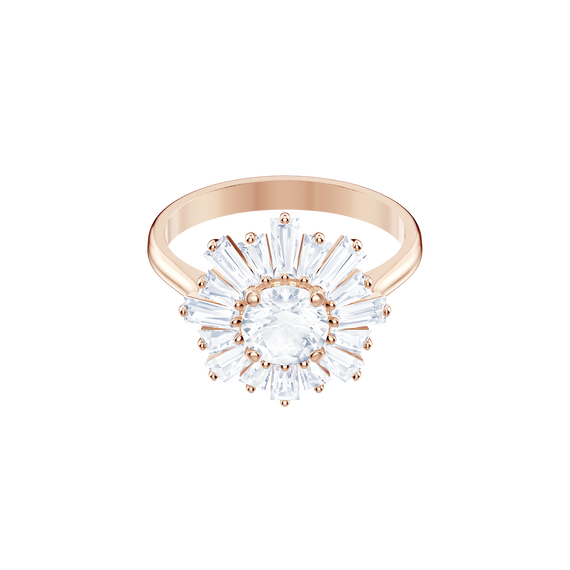 Sunshine Ring, White, Rose gold plating