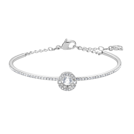 Sparkling Dance Bangle, White, Rhodium plated