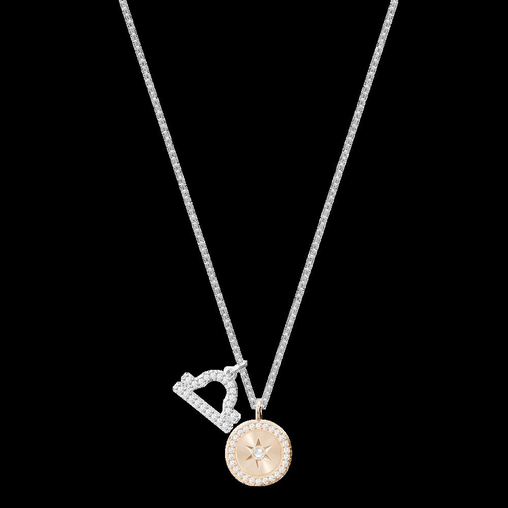 Zodiac Pendant, Libra, White, Rhodium Plating