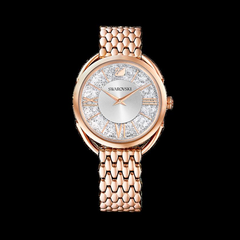 Crystalline Glam Watch, Metal Bracelet, White, Rose gold tone