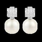Perpetual Pierced Earrings, White, Rhodium Plating