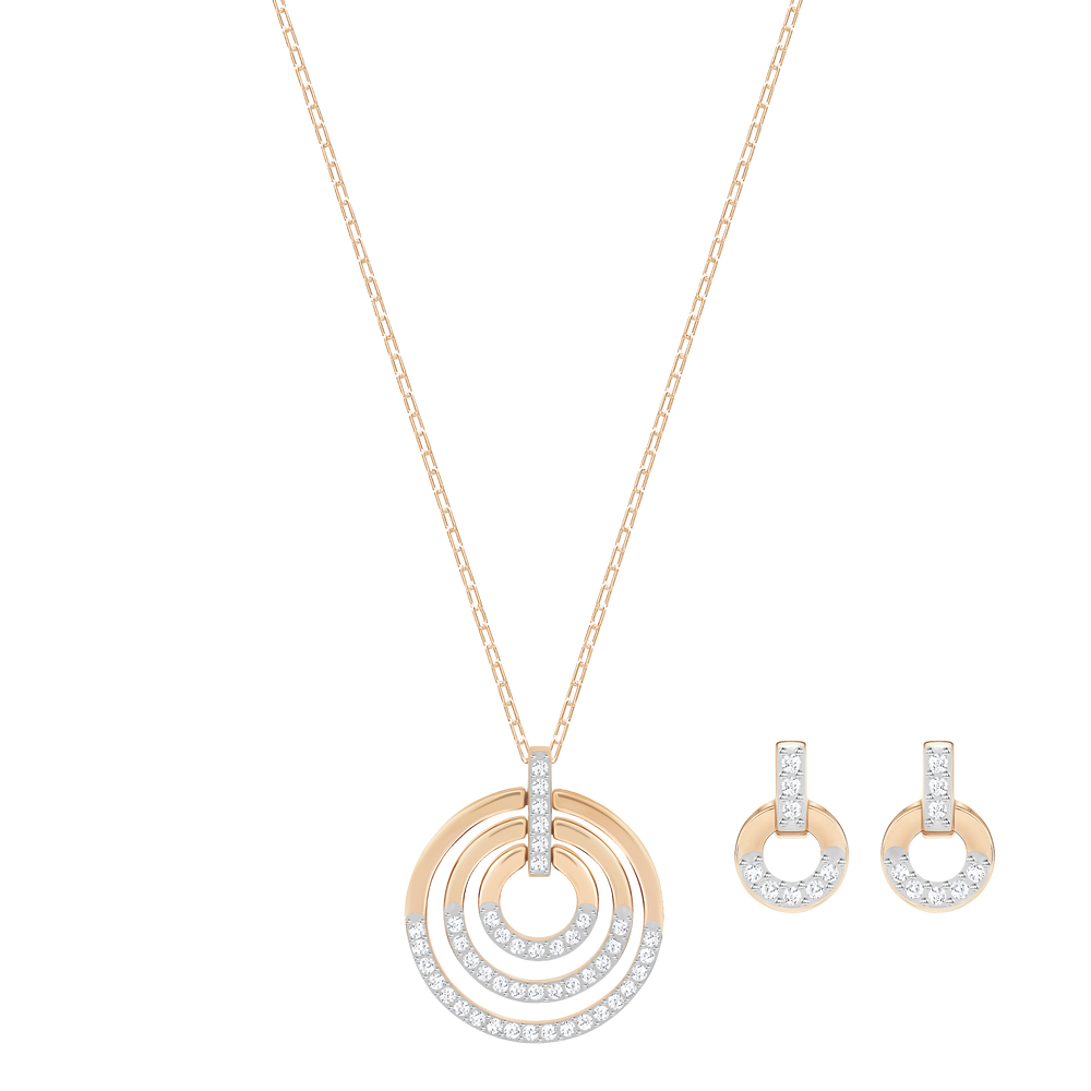 Circle Set, White, Rose-gold tone plated