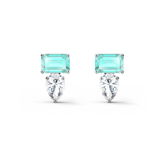 Attract Rectangular Pierced Earrings, Green, Rhodium plated