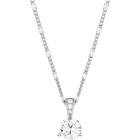 Solitaire Pendant, White, Rhodium Plating