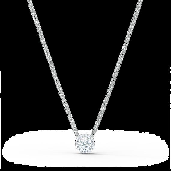 Angelic Round Pendant, White, Rhodium plated