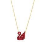 Iconic Swan Pendant, Red, Gold plating