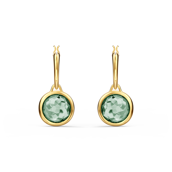 Tahlia Mini Hoop Pierced Earrings, Green, Gold-tone plated