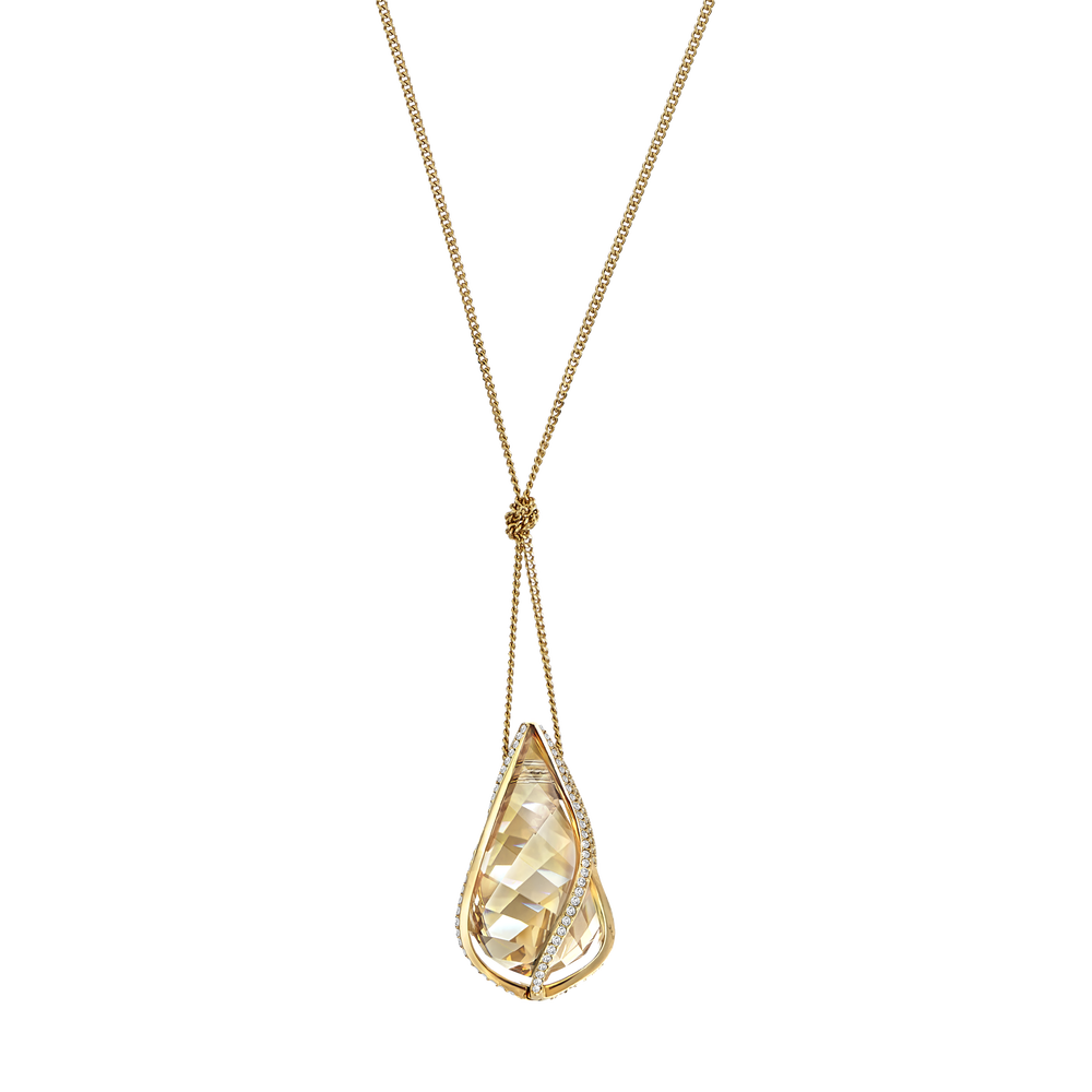 Energic Pendant, Medium, Golden, gold tone plated