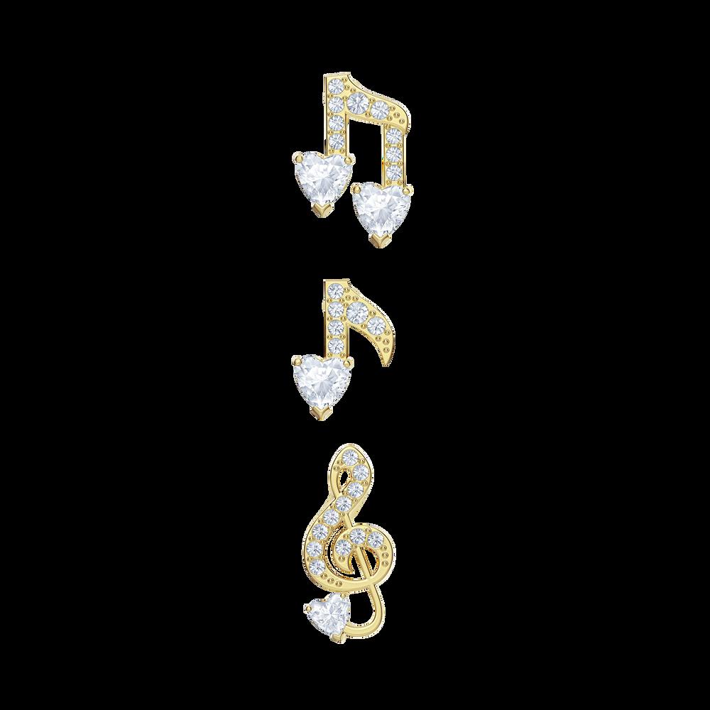 Pleasant Pierced Earrings set, White, Gold-tone plated
