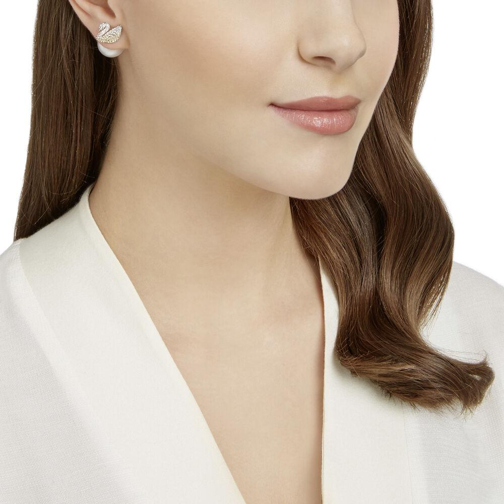 Iconic Swan Pierced Earrings, Large, Multi-Coloured, Rhodium Plating