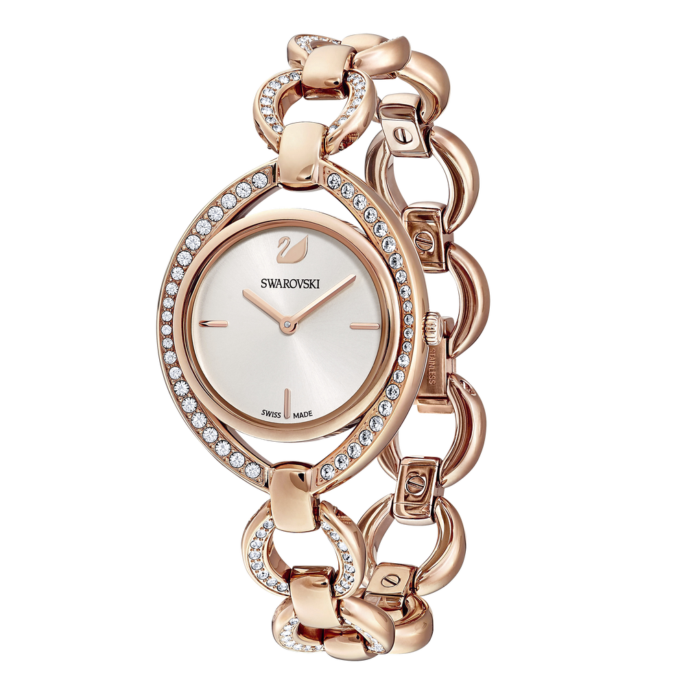 Stella Watch, Metal bracelet, White, Rose-gold tone PVD