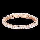 Tennis Bracelet, White, Rose gold plating