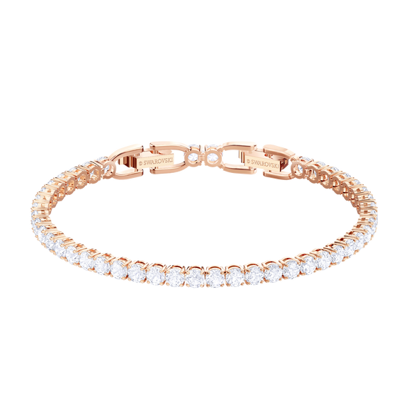 Tennis Bracelet, White, Rose gold plating