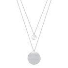 Ginger Layered Pendant, White, Rhodium Plating