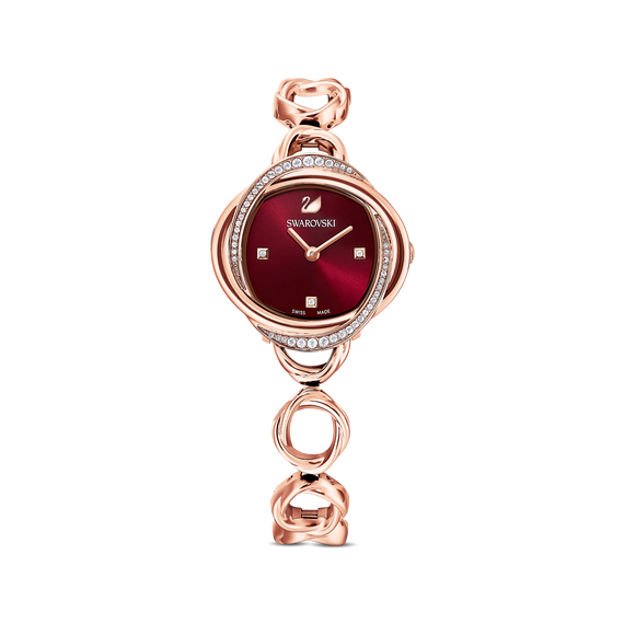 Crystal Flower Watch, Metal bracelet, Red, Rose-gold tone PVD