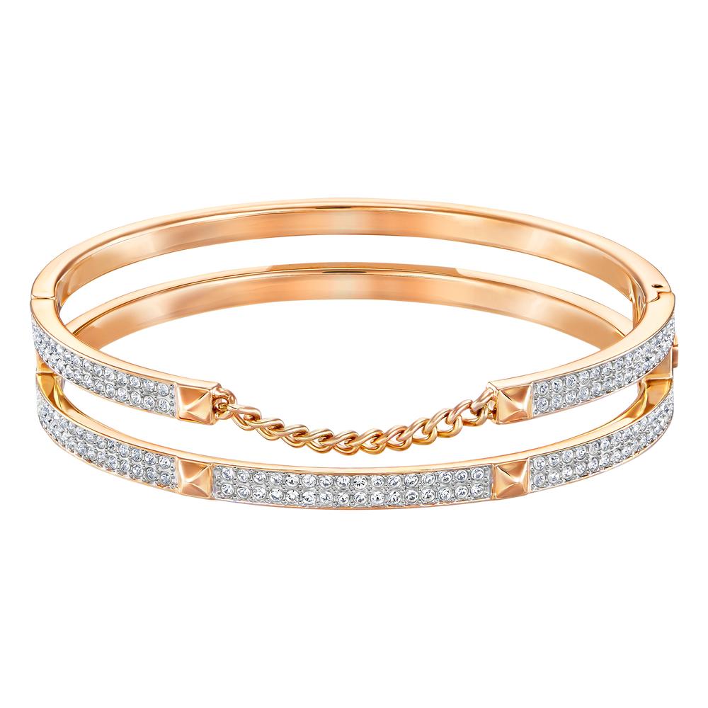 Fiction Wide Bangle, White, Rose-gold tone plated