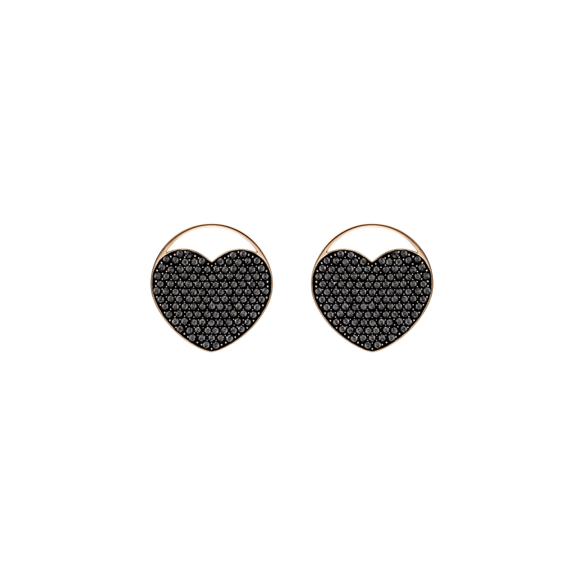 Ginger Stud Pierced Earrings, Gray, Rose gold plating