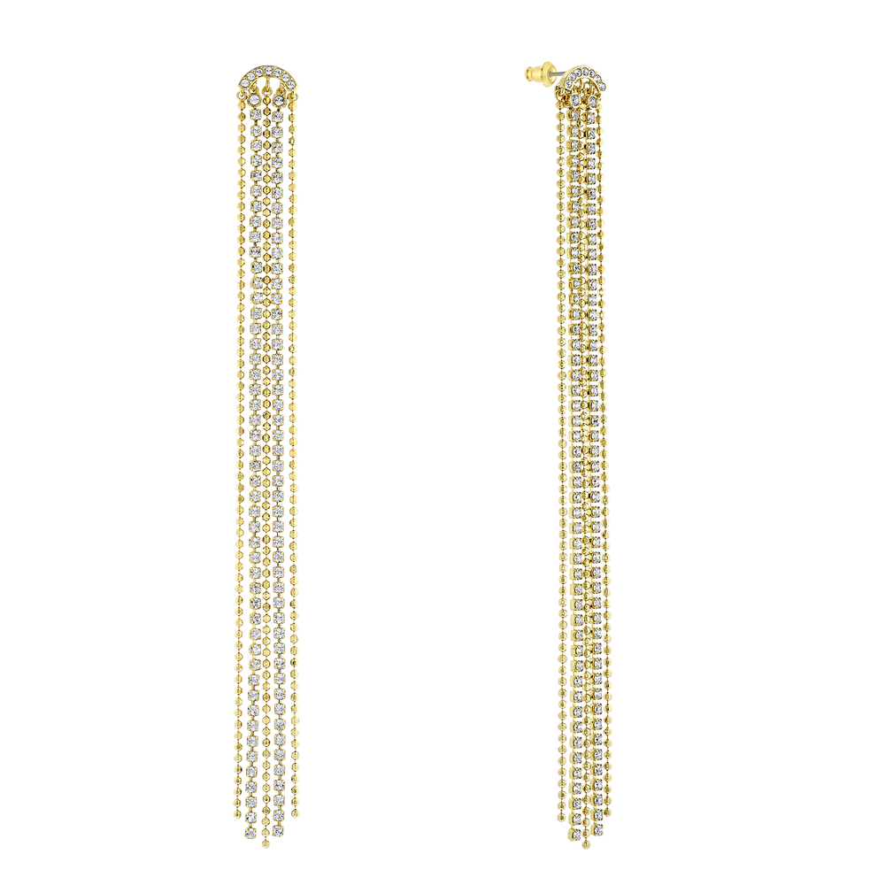Fit Pierced Tassell Earrings, White, Gold-tone plated