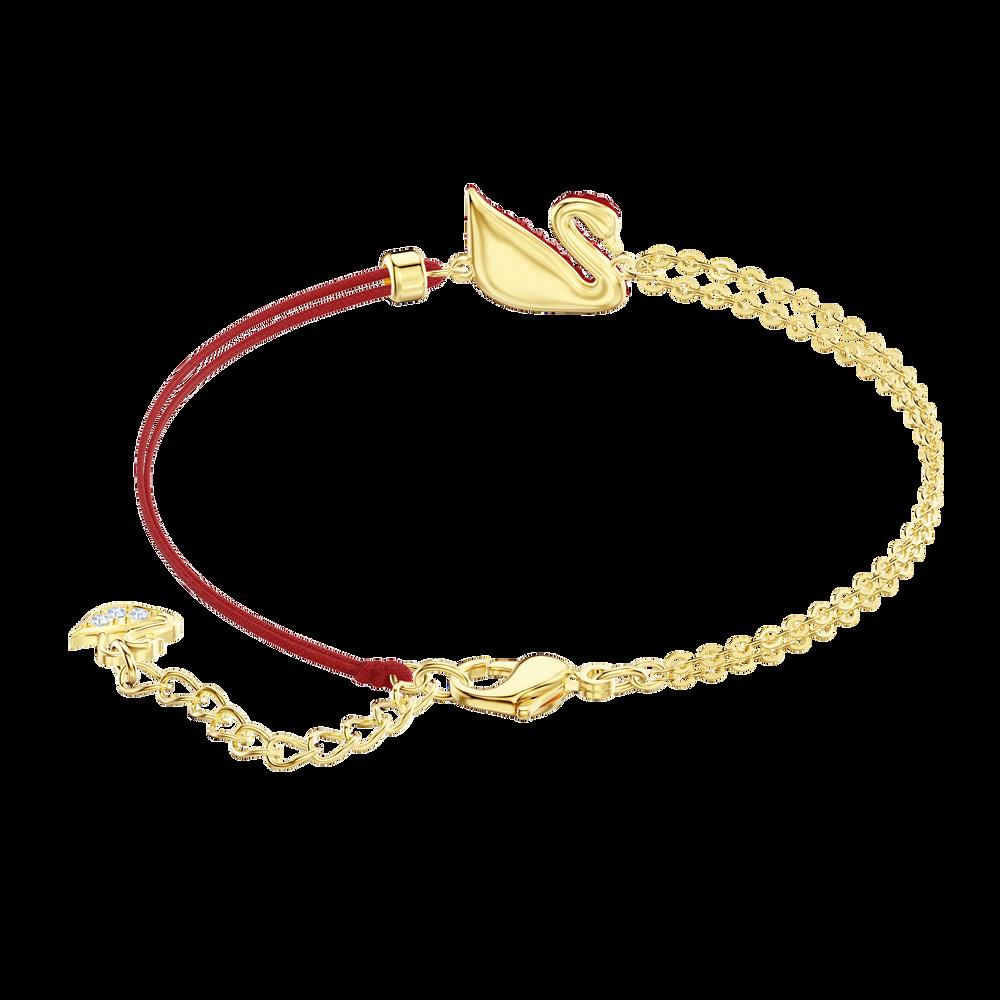 Iconic Swan Bracelet, Red, Gold plating