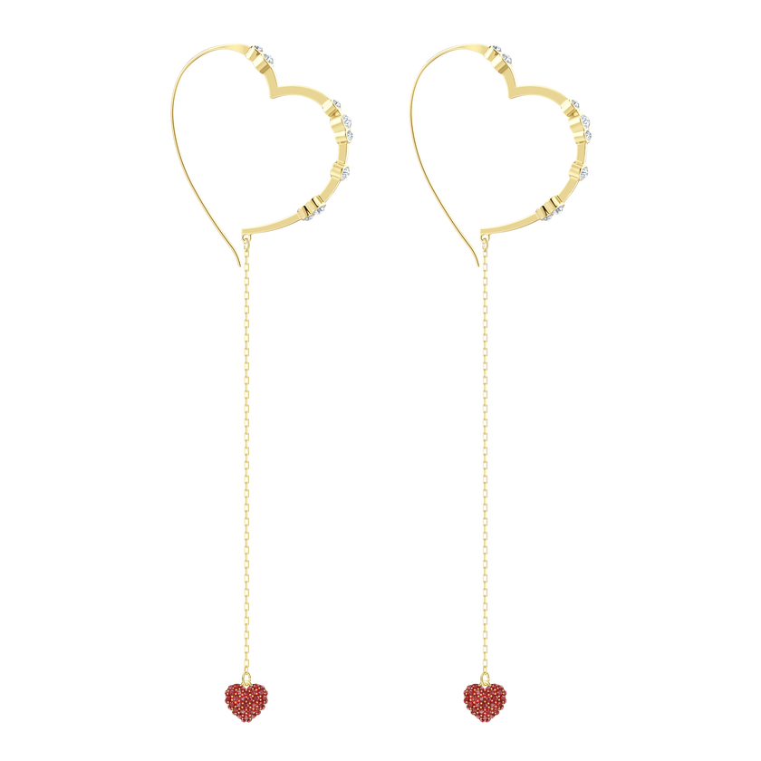 OXO Pierced Earrings Chain, Red, Gold plating
